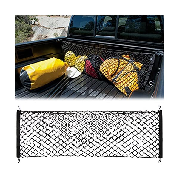 SNBLO Cargo Net Three Pocket Mesh Storage Net Fit Toyota Tacoma Accessories Trunk net for Back of Truck Cargo Organizer