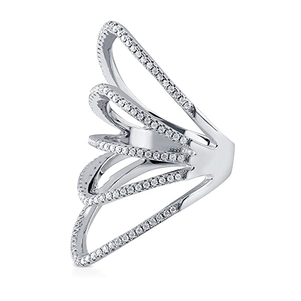 BERRICLE Rhodium Plated Sterling Silver Cubic Zirconia CZ Statement Open Bar Fashion Right Hand Ring