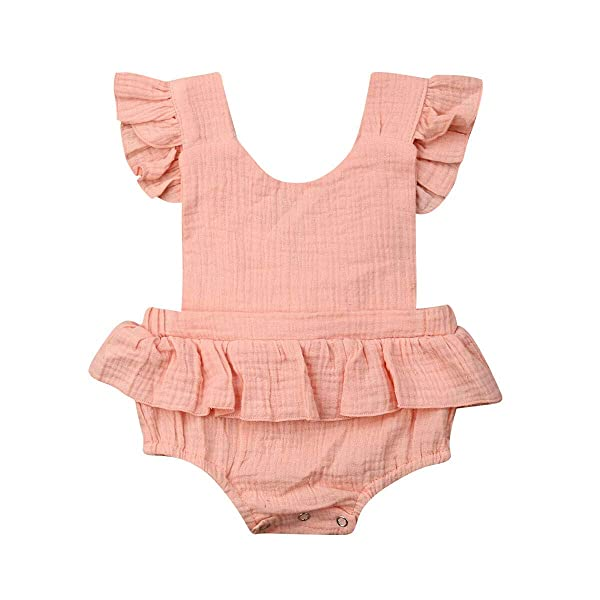 YOUNGER TREE Infant Baby Girl Bodysuit Newborn Ruffles Romper Sunsuit Outfit Princess Clothes