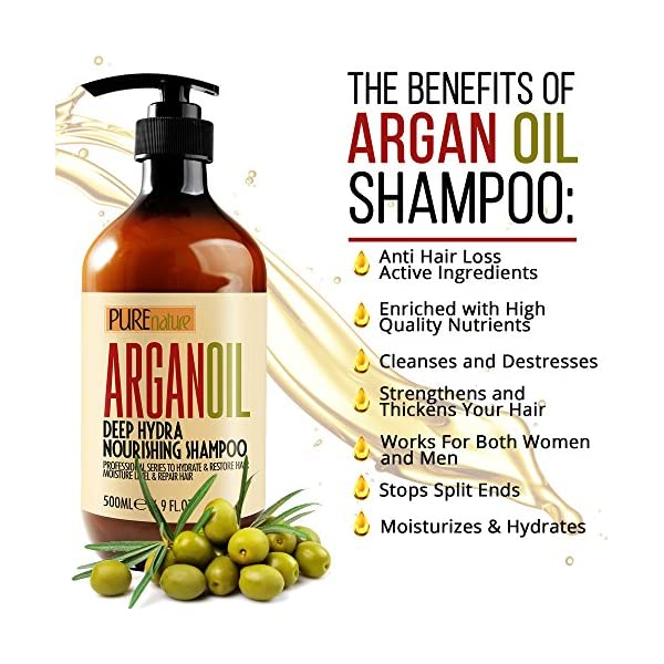 Moroccan Argan Oil Shampoo SLS Free Sulfate Free, Organic for Damaged, Dry, Curly or Frizzy Hair - Thickening for Fine/Thin Hair, Good for Color and Keratin Treated Hair
