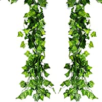 ATPWONZ 12 Pack 80Ft Artificial Ivy Leaves Greenery Garland Vine Hanging Fake Foliage Flowers for Wedding Party Garden Wall Decoration