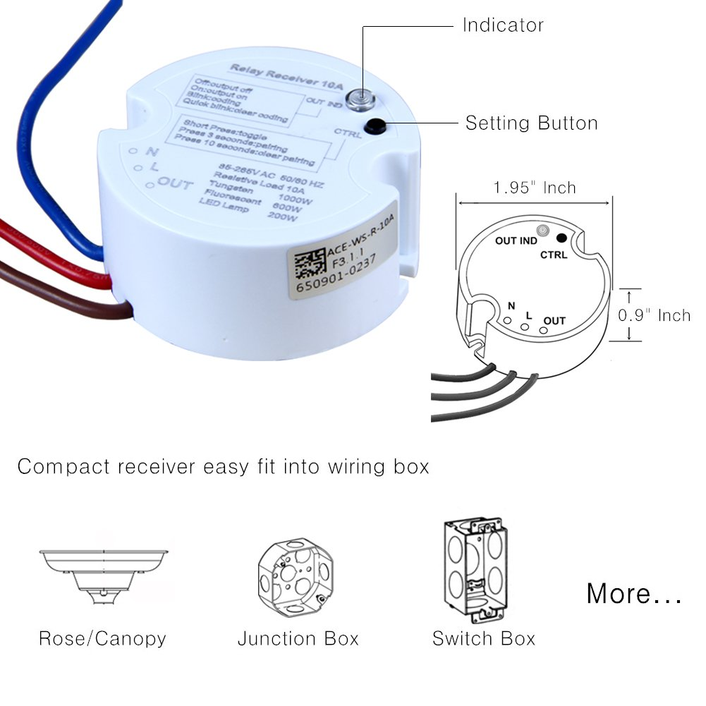 Wireless Lights Switch Kit No Battery No Wires No Wi Fi Required 150feet Operating Range Easy To Install Remote Control Lights Ceiling Fans House Lighting Lamps Replace Wall Switch Can Mount Anywhere Switches Dimmers