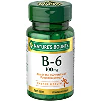Nature's Bounty Vitamin B6 Supplement, Supports Metabolism and Nervous System Health...
