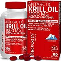 Bronson Antarctic Krill Oil 1000 mg with Omega-3s EPA, DHA, Astaxanthin and Phospholipids 180 Softgels (90 Servings)
