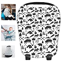 Multi-Use Nursing Breastfeeding Cover Baby Car Set Cover Canopy Shopping Cart Cover Swaddle Blanket for Infants Newborns Toddlers Shower Gift (P)