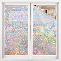 Volcanics Window Privacy Film Static Window Clings Vinyl 3D Window Decals Window Stickers Rainbow Window Film for Glass Door Home Heat Control Anti UV 23.6 x 78.7 Inches
