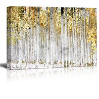 wall26 - Abstract Trees with Yellow Leaves - Canvas Art Wall Decor - 24