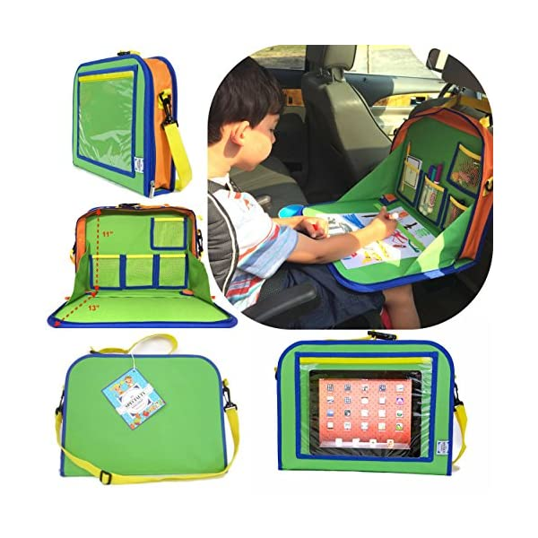 Zooawa Kids Car Seat Travel Tray Detachable 4 in 1 Toy Storage Organizers iPad Kindle /& Other Tablets Holder for Toddlers Light Blue