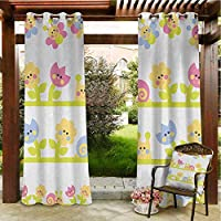 Kids Geometric Outdoor Curtain Grommet Top Blackout Curtain Panel 96
