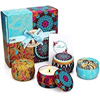YINUO MIRROR Scented Candles Gift Set, Natural Soy Wax 4.4 Oz Portable Travel Tin Candles Women Gift with Strongly Fragrance Essential Oils for Aromatherapy- 4 Pack