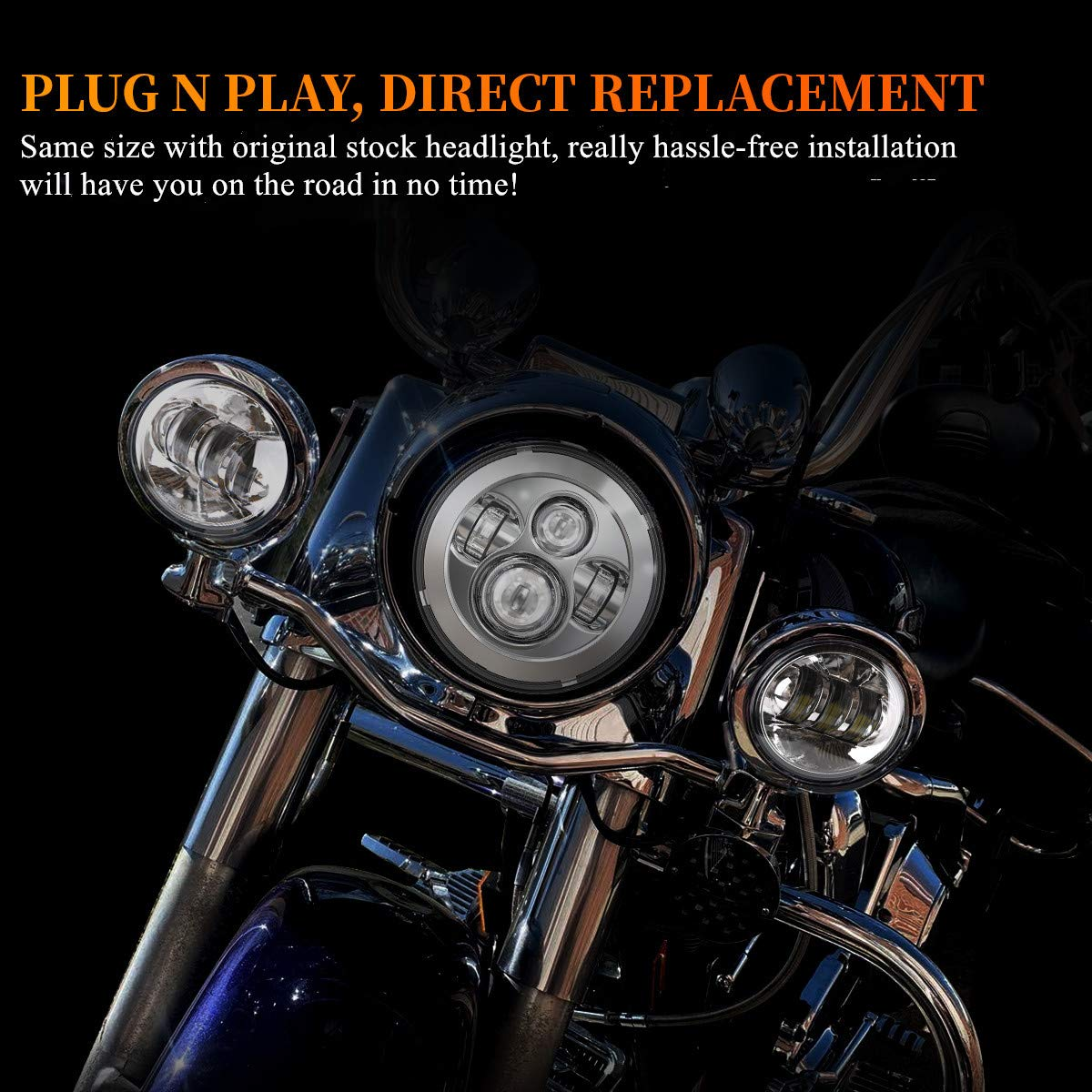 DOT 7 Inch Motorcycle LED Headlight for Harley Davidson Electra Glide Street Glide Fat Boy Road King Heritage Softail Switchback Headlamp Chrome