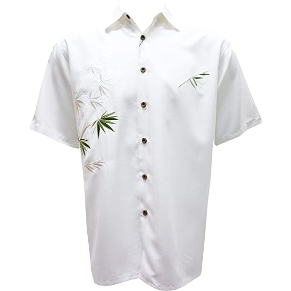 Bamboo Cay Mens Short Sleeve Point-Collar Embroidered-Panel Button-Down Shirt