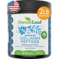 Advanced Hydrolyzed Collagen Peptides – Type 1, 2 and 3 Unflavored Protein Powder...