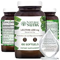 Natural Nutra Soy Lecithin Dietary Supplement from Soybean Oil, Non GMO, High Potency...