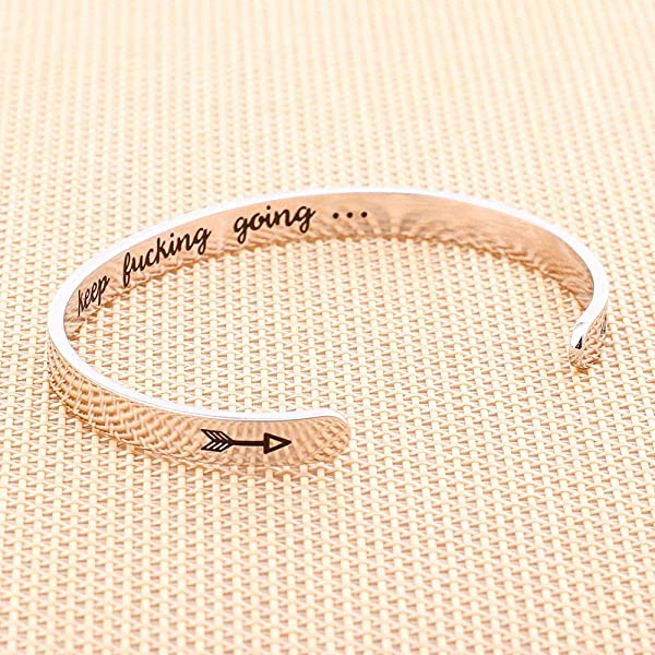 M MOOHAM Inspirational Birthday Gifts for Women Message Engraved Mantra Bracelet Birthday Gifts for Her Quote Keep Funking Going Bangle Bracelets