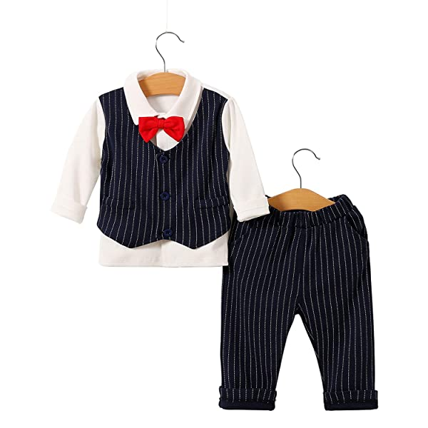 famuka Baby Boy Formal Clothes Outfit Tuxedo Christening Summer Romper