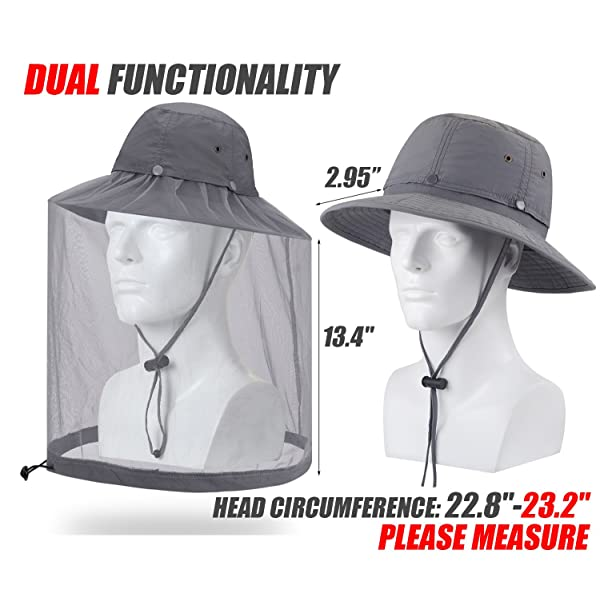 Sun Protection Hat with Mesh Face Neck Mask OKSakady Anti Mosquito Head Net Hat Outdoor UPF 50