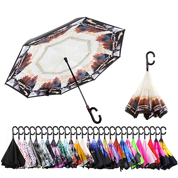 UPF 50 Big Stick Umbrella with C-Shaped Handle and Carrying Bag MASTERCANOPY Inverted Umbrella,Double Layer Reverse Windproof Teflon Repellent Umbrella for Car and Outdoor Use
