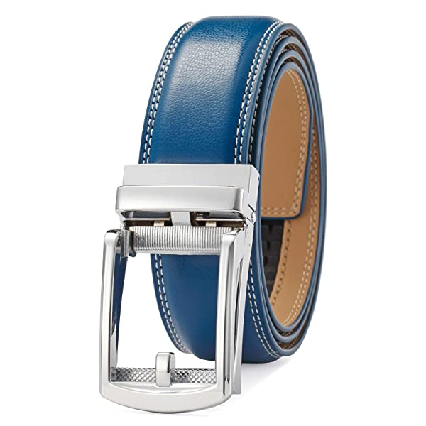 Casual 40mm Thick Leather Belt For Men With Automatic Ratchet Buckle Cognac