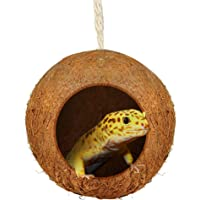 SunGrow Gecko Coconut Bird Hut, 4.5 Inches, Nesting House for Cage or Patio, Finch...