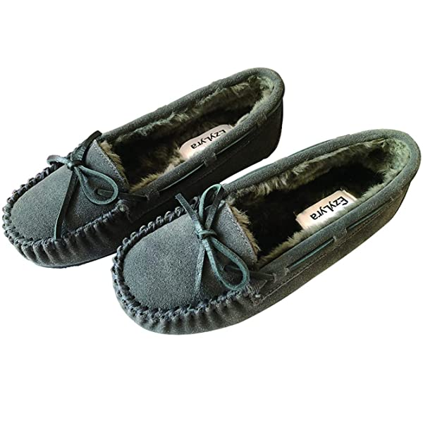 LADIES WOMENS NEW WARM COMFY OUTDOOE FLAT SOLE FUR LINNED MOCCASINS SLIPPERS SZ