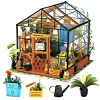 Rolife DIY Miniature Dollhouse Kit,Green House with Furniture and LED,Wooden Dollhouse...