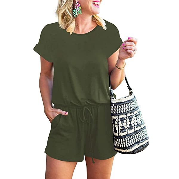 MILLCHIC Womens Casual Loose Off Shoulder Elastic Waist Long Romper Jumpsuit with Pockets