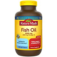 Nature Made Fish Oil 1000 mg Softgels, 250 Count Value Size for Heart Health† (Packaging...