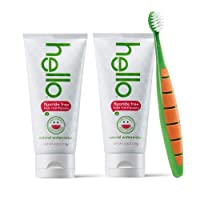 Hello Oral Care Kids Fluoride Free and SLS Free Toothpaste Twin Pack with BPA-Free...