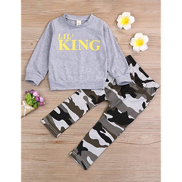 Baby Boy Clothes Funny Letter Printed Long Sleeve Hoodie Tops Sweatsuit and Camouflage Pants Outfit Set