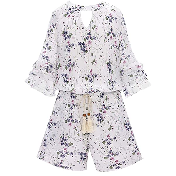 7-16 Big Girls Floral Printed Smocking and Ruffle Detailed Jumpsuits with Pockets Smukke Many Options