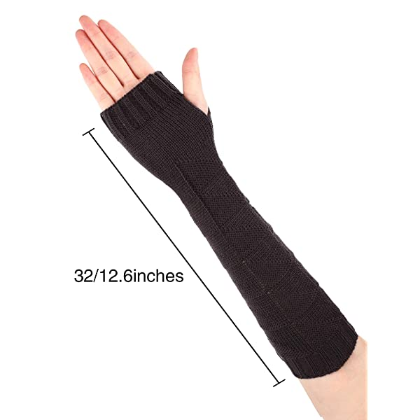 6 Pairs Women Long Fingerless Gloves Knitted Wrist Arm Warmers Stretchy Thumb Hole Gloves