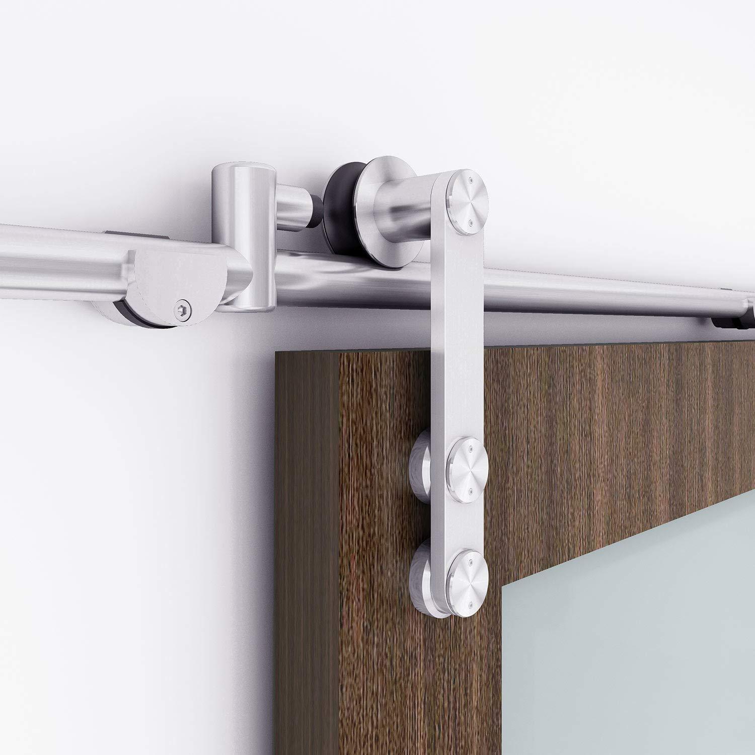 """Contractor/'s Choice Contractors Choice Oversized Two-Side Design with Durable Stainless Steel Finish Oversized Two-Side Design with Durable Stainless Steel Finish INDUSTRIAL BY DESIGN Heavy Duty 12/"""" Pull and Flush Barn Door Handle Set"""