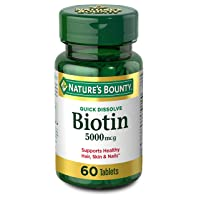 Nature's Bounty Biotin Supplement, Supports Healthy Hair, Skin, and Nails, 5000mcg...