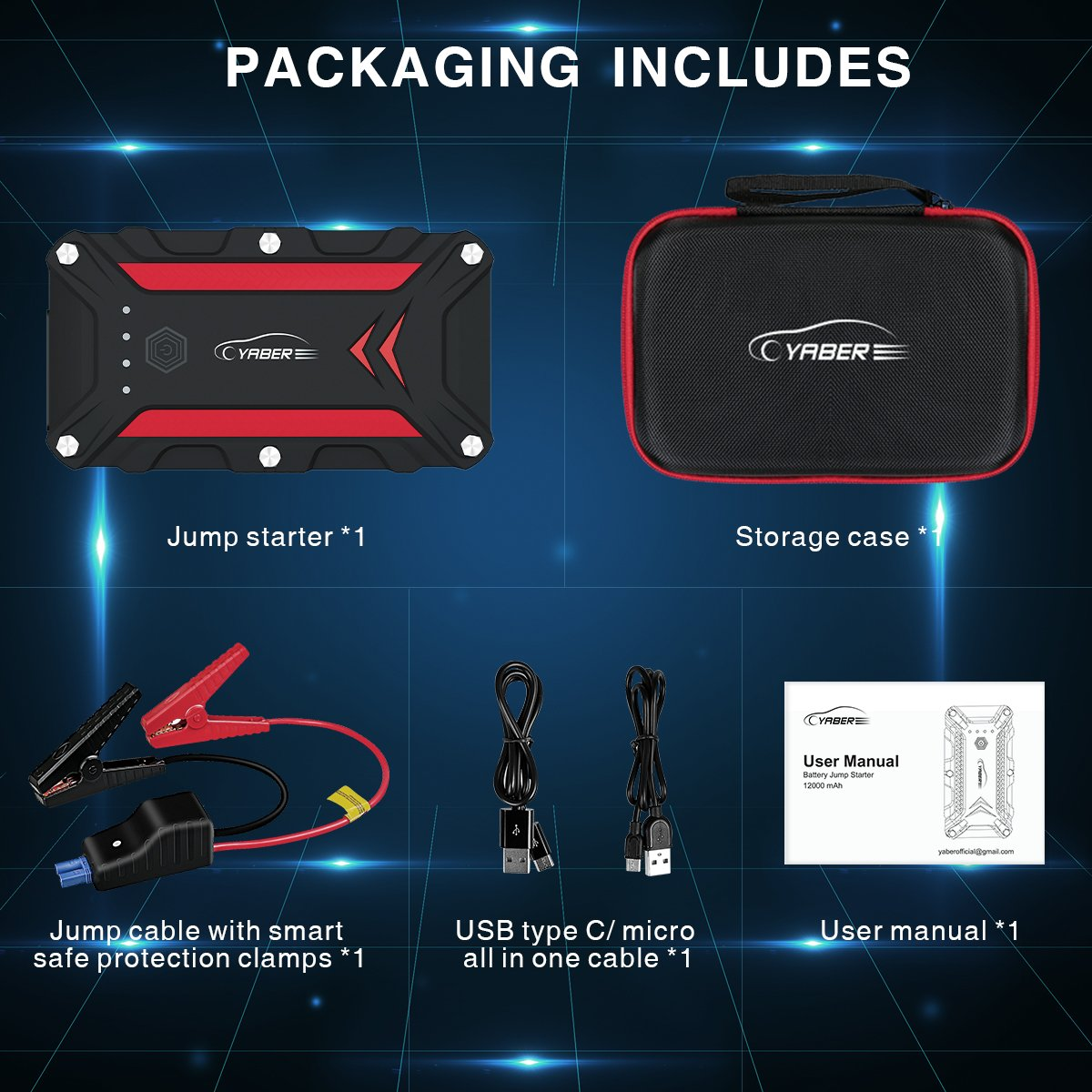 up to 7.5L Gas//6.0L Diesel Engine ,12V Auto Battery Booster,IP68 Waterproof Portable Power Pack with QC3.0 Ports and LED Flashlight YABER Car Jump Starter,1200A Peak 15000mAh Battery Jump Starter