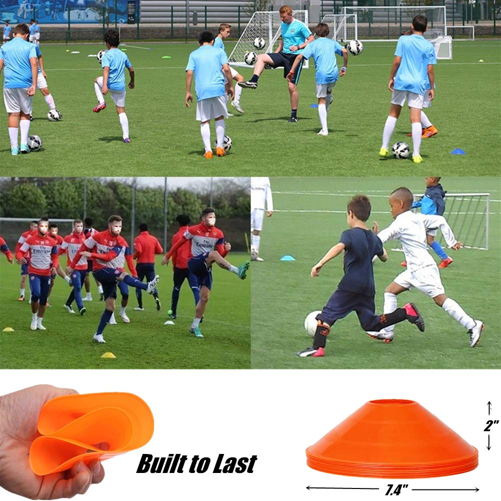 Pack of 50 Soccer Football Field Cone Markers GSI 2 inch high Disc Cones Soccer Cones with Stand for Agility Training