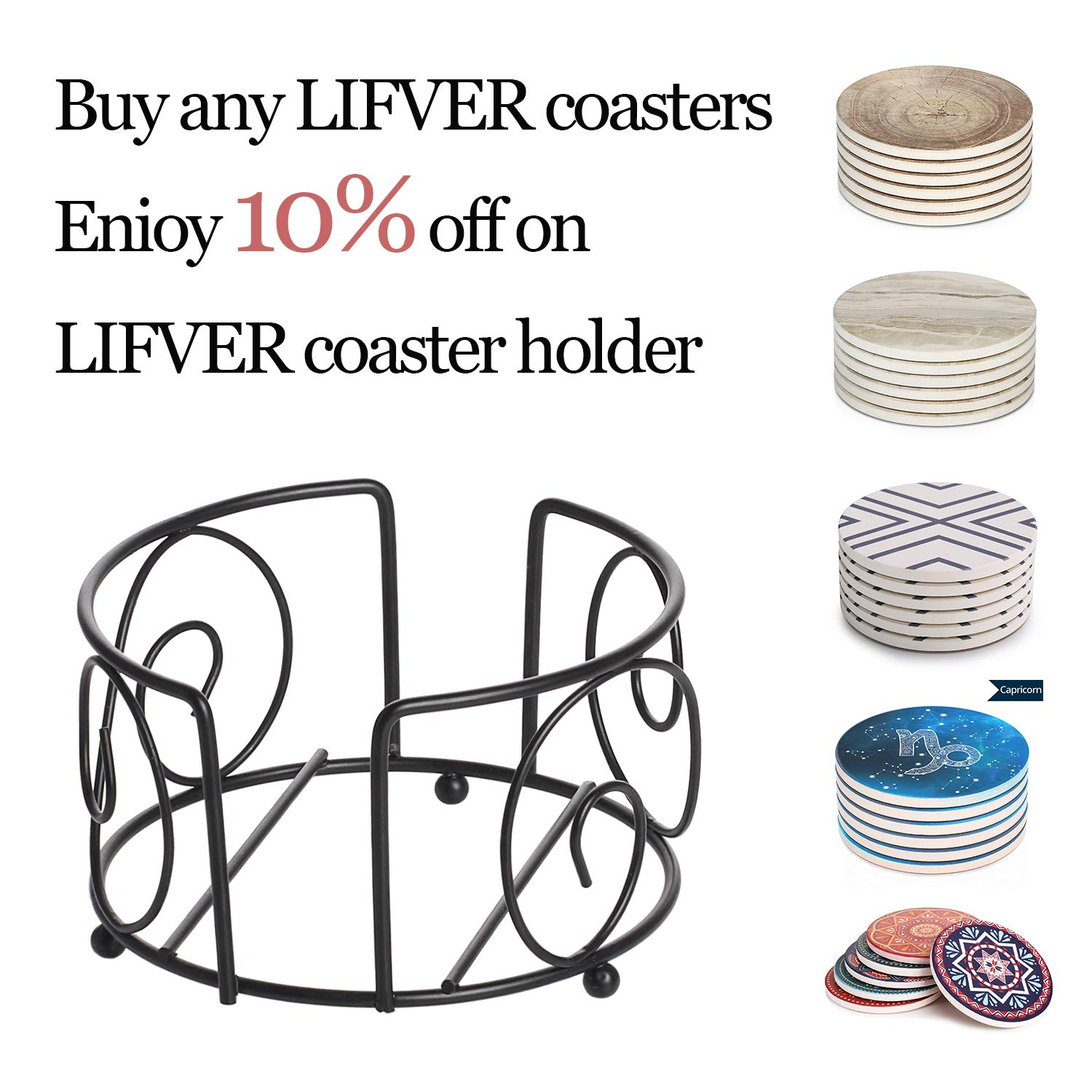 Hold Up To 8 Pcs coasters LIFVER 4.5 Inch Black Iron Metal Coaster Holder