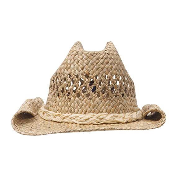 Natural W34S38F Fashion Straw Cowboy Hat with Chin Cord
