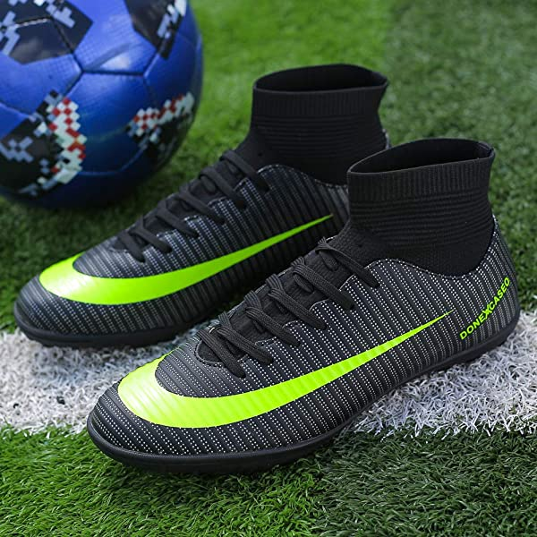 CR Indoor Soccer Shoes High Top for Boys High Elastic Collar AG Training Messi Ankle Boots Football Shoes TF Turf Long Studs High Traction Black