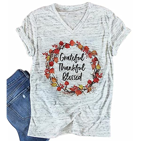 YUYUEYUE Grateful Thankful Blessed Feather T-Shirt Fashion Thanksgiving Short Sleeve Tops Tee