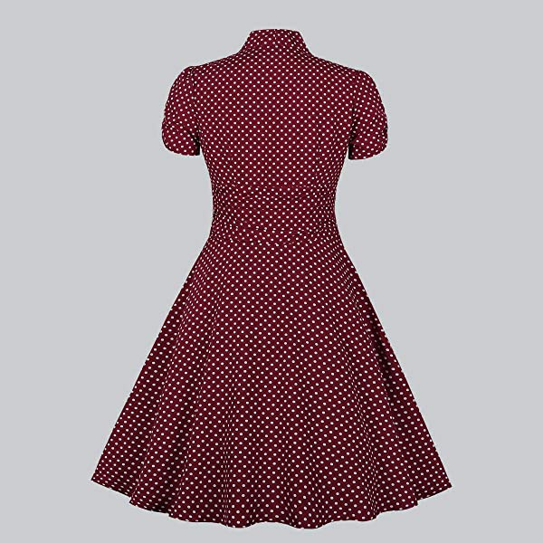 Wellwits Womens Cap Sleeves Dots Check Print Belted Vintage Swing Dress