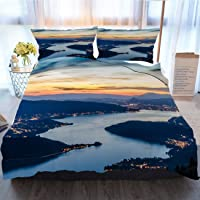 OTTOSUN Night Bedding 3 Piece Duvet Cover Sets,Lake Annecy (Lac D'Annecy) in France...