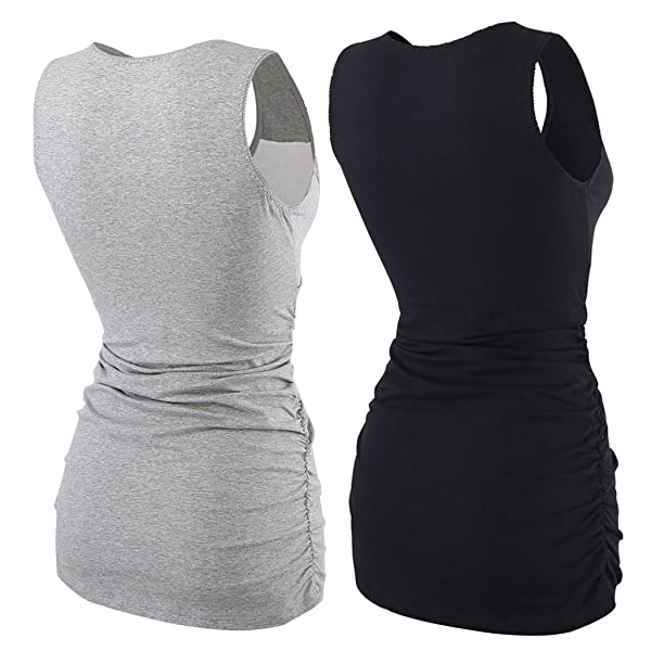 Womens Cotton Round Neck Ruched Waist Maternity Cami Shirt ZUMIY Pregnant Maternity Top