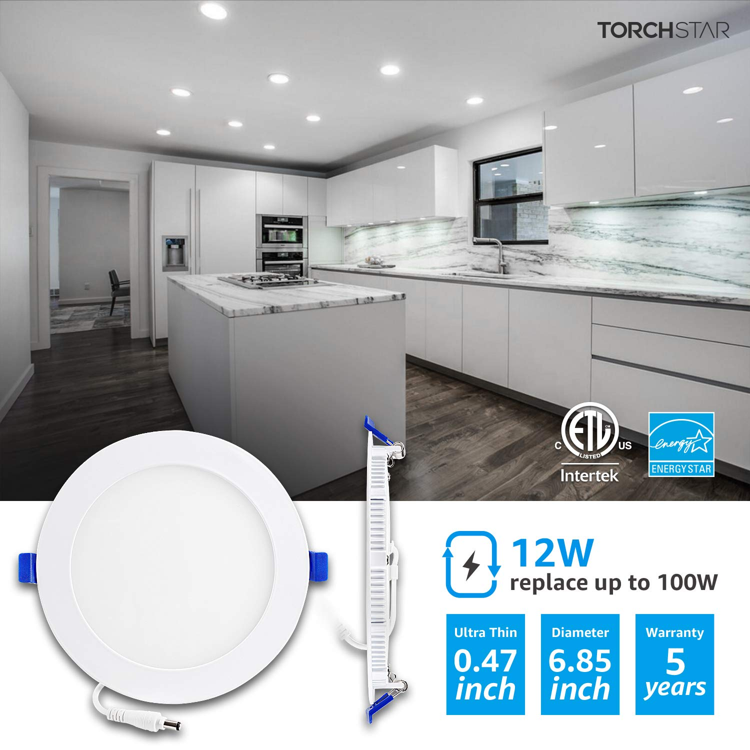 4000K 5000K 4 Pack 12W Elite 6 Inch Gimbal Black Trim Recessed Canless Adjustable Downlight  CCT Color Switch 3000K 1//2 Thin Panel with Junction Box; 120V; Dimmable; CRI90; 5 YR Warranty