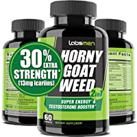 LabsMen 2-in-1 Horny Goat Weed Extract with Epimedium (13mg Icariin), Maca, Tribulus...