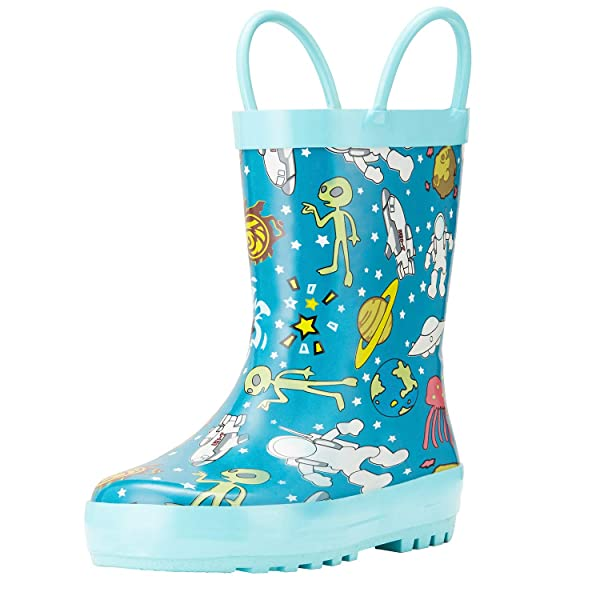 Rubber Printed Patterns Shoes for Toddlers Waterproof Rubber Boots with Easy-On Handles for Boys and Girls Knodel Rain Boots for Kids