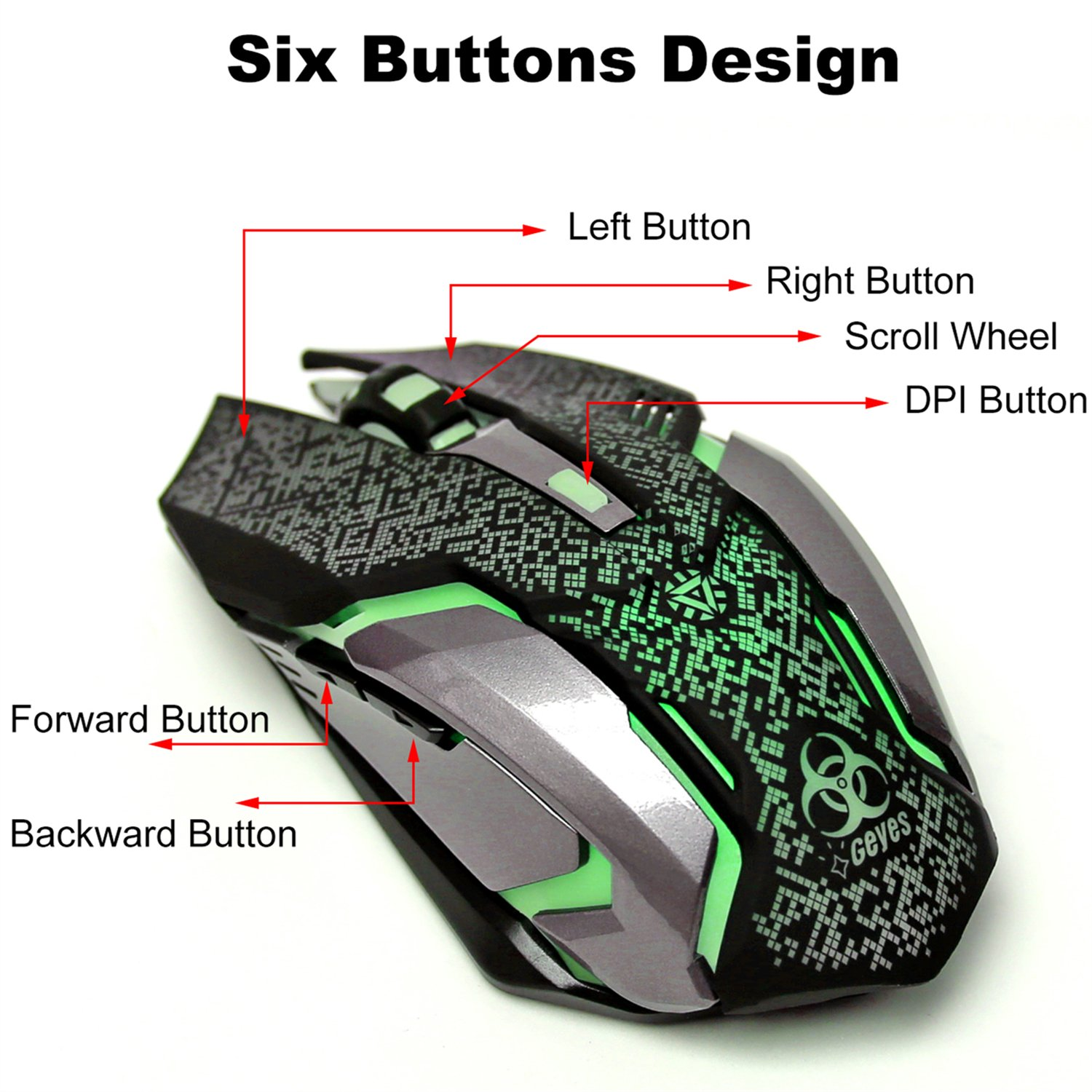 Alician CE Professional Wired Gaming Mouse 7 Button 5500 DPI LED Optical USB Computer Mouse Game Mouse Silent Mause for PC Black