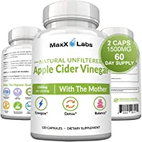 Raw Apple Cider Vinegar Capsules with Mother, 1500mg of Unfiltered, Pure, Natural...
