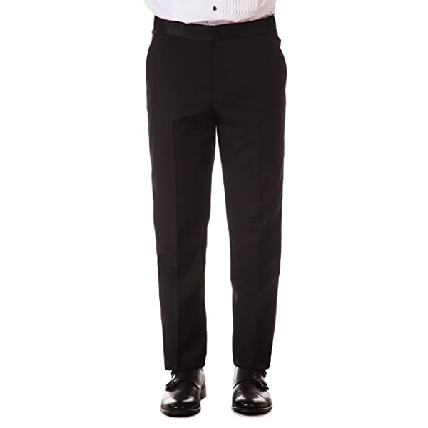 Sir Gregory Mens Fitted Flat Front Tuxedo Pants Formal Satin Stripe Trousers with Expandable Waistband