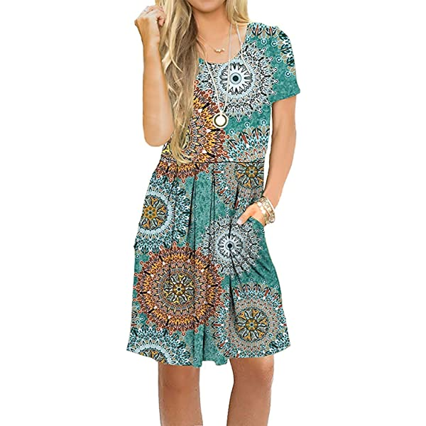 AUSELILY Women's Short Sleeve Pleated Loose Swing Casual Dress with Pockets Knee Length (S, H Print Green)